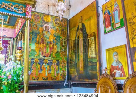 BETHLEHEM, PALESTINE - FEBRUARY 18, 2016: The old icon to the various saints in the Church of the Nativity on February 18 in Bethlehem.