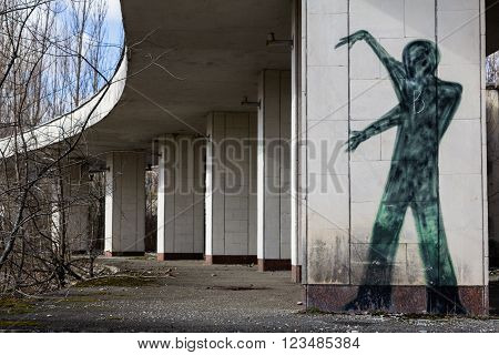 UKRAINE. Pripyat, Chernobyl Exclusion Zone. - 2016.03.19. Art at the walls of ghost-city