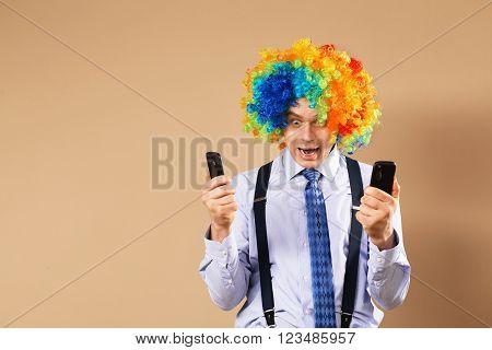 Businessman Respond To Numerous Phone Calls