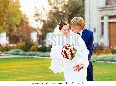 Beautiful Young Bride And Groom In Love