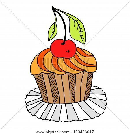 Vector of hand drawn cake with cherry. Isolated on white