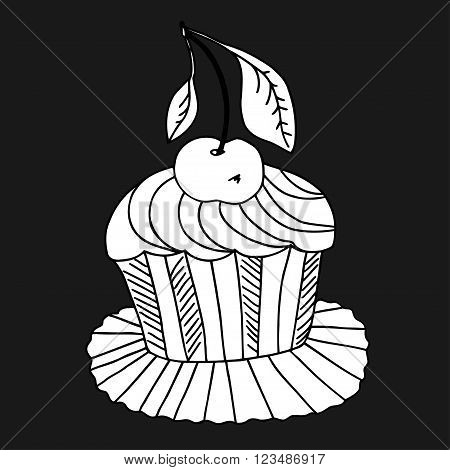 Monochrome Vector of hand drawn cake with cherry. Isolated on white