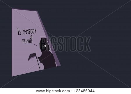 Cartoon Grim Reaper standing in doorway and asking
