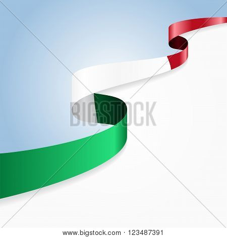 Italian flag wavy abstract background. Vector illustration.