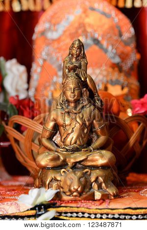 Golden statue of Lord Shiva, the traditional Indian spiritual savior in Hindu tradition