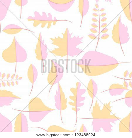 Autumn yellow and pink withered leaves in flat lay style seamless pattern. Oak leaf, chestnut leaf, maple, birch and acacia leaves.