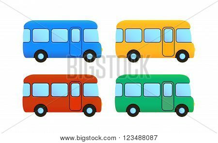 vector cartoon flat bus icon set. color car - blue, yellow, red. green, school