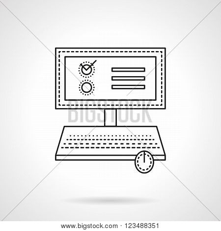 Computer or laptop with voting web page or application. Online vote. Web survey. Vector icon flat thin line style. Element for web design, business, mobile app.