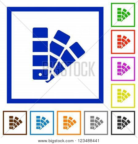 Set of color square framed color swatch flat icons on white background