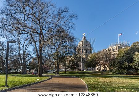 Mississippi State Capitol And Park In Jackson,  Mississippi