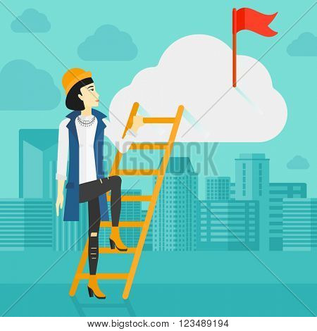Woman climbing the ladder.