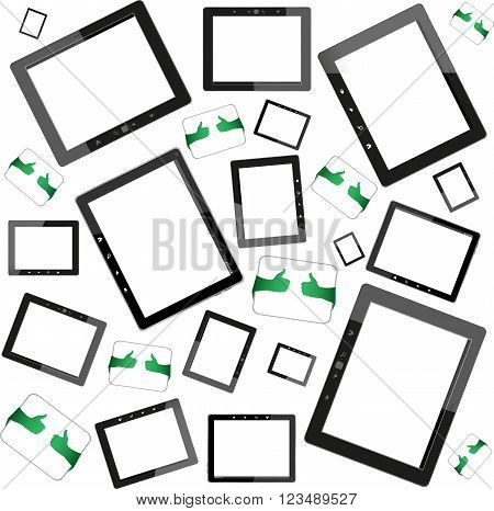 Set Of Tablet Pc Computers With Blank Screen On White Background