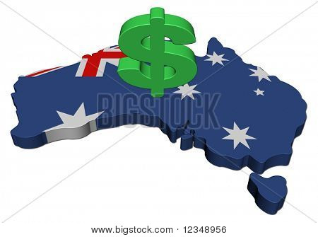 Australia map flag with dollar symbol illustration