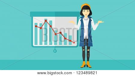 Woman with decreasing chart.