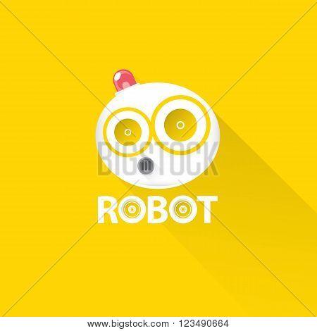 funny robot head logo design. vector robot head