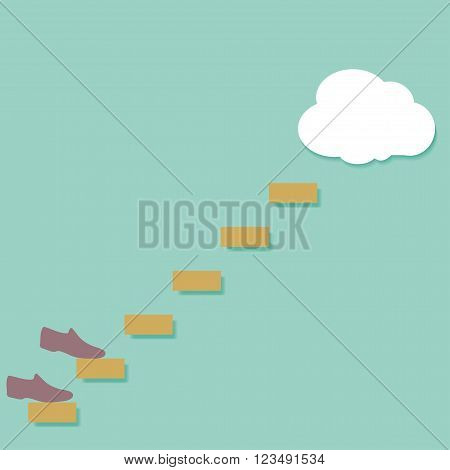 Conceptual image shoes up the stairs in the clouds vector illustration