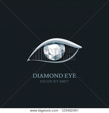 Vector Illustration Of Abstract Human Eye With Diamond Pupil.