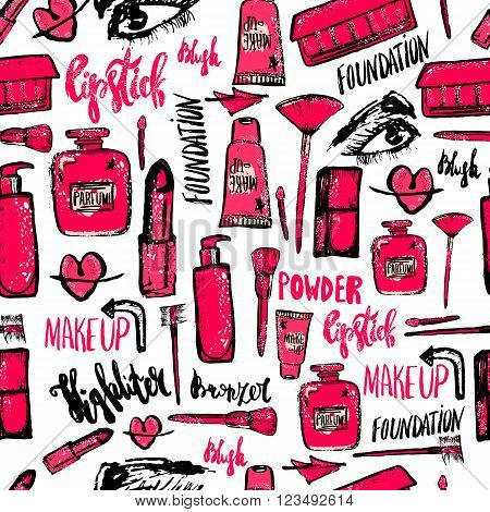 Seamless Makeup pattern. Glamorous makeup pattern with nail polish and lipstick.Creative makeup pattern design for card, web design background, book cover