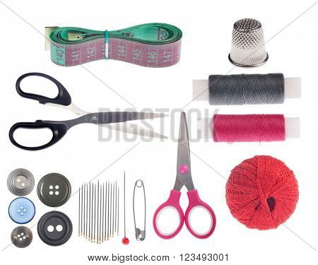 set of sewing items isolated on white background