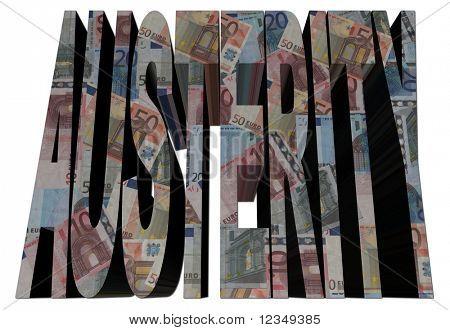 Austerity text with euros on white illustration