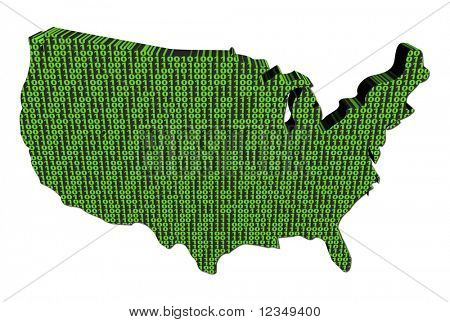 USA map with binary code on white illustration