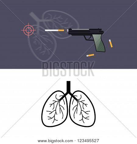 Stop smoking. Shoot cigarettes vector concept. Lungs icon