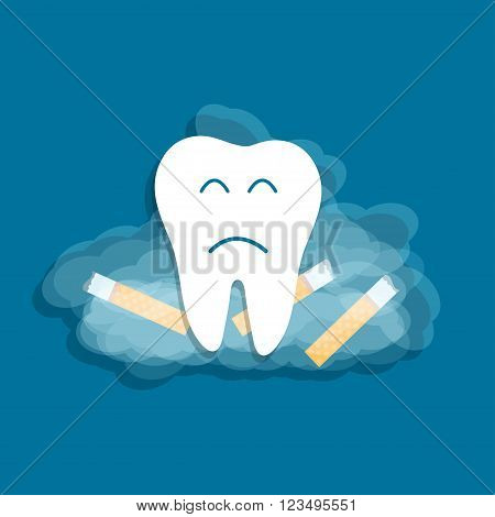Smoking harmful to teeth. Cigarette smoke bad habits concept
