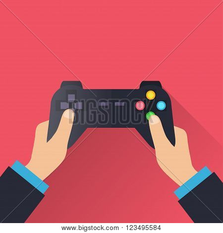 Hands holding wireless gamepad. vector illustration in flat design on pink background. Gamer concept