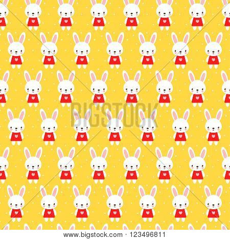 Cute childish seamless pattern with rabbits. Seamless pattern in cartoon style.