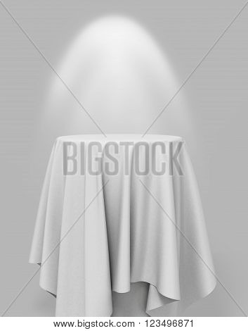 3D Illustration Of white cloth on a round pedestal on a gray background with illumination