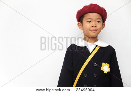 Japanese boy in school uniform (6 years old)