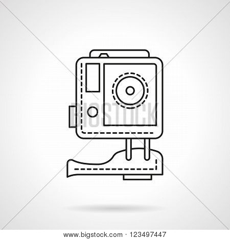Action camera for extreme sport, hike, activity entertainments. Digital camera. HD video technology. Vector icon flat thin line style. Element for web design, business, mobile app.