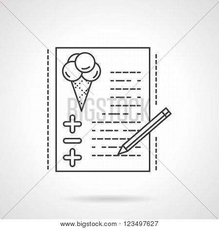 Paper with checklist balloons symbol and pencil. Organization of festive events, wedding, birthday party. Event agency services. Vector icon flat line. Element for web design, business, mobile app.