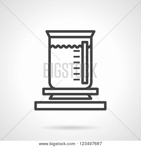 Laboratory measuring glass with liquid. Chemical burner flask. Science research. Vector icon simple black line style. Single design element for website, business.