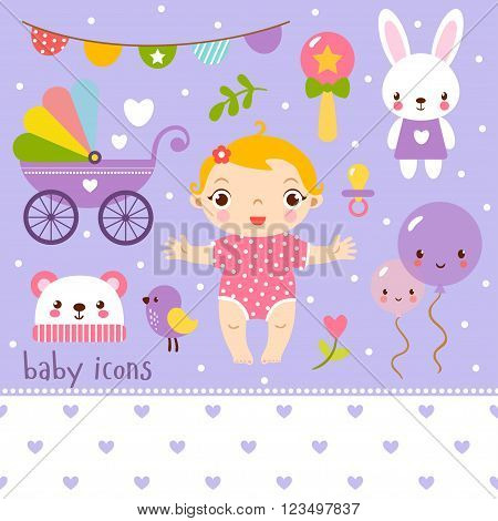 Cute cartoon baby girl set. Baby icons set.