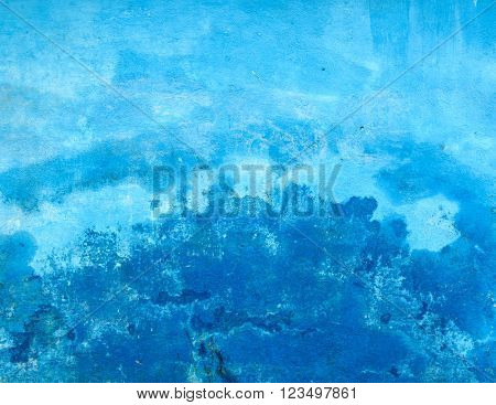 Grungy blue painted wall texture