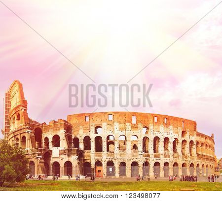 Colosseum during sunset with copy space, Rome, Italy
