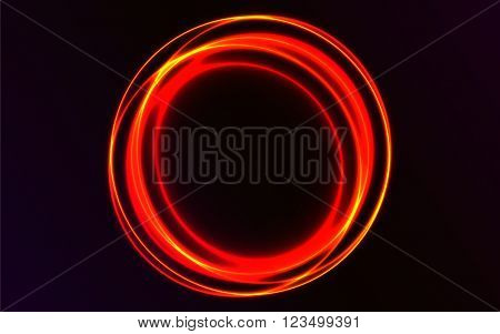 Abstract rounded vector explosion. Abstract plasma vector background. Red shiny circles on dark background. Neon rounded lights