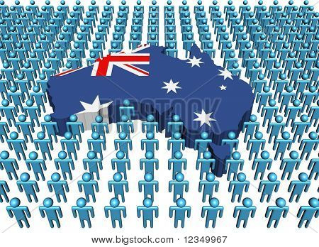 Australia map flag surrounded by many abstract people illustration