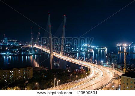 Golden Bridge In Vladivostok, Russia By Night
