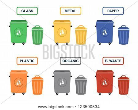 Garbage cans vector flat illustrations. Sorting garbage. Ecology and recycle concept. Trash cans isolated on white background