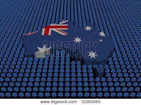 Australia map with dollar symbols on black illustration