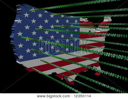 USA map flag with green binary code illustration