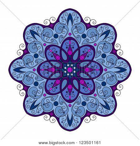 Vector Beautiful Deco Colored Contour Mandala