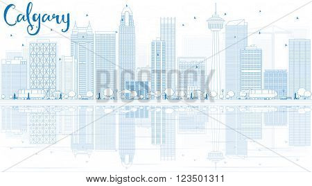 Outline Calgary Skyline with Blue Buildings and Reflections. Business travel and tourism concept with copy space. Image for presentation, banner, placard and web site.