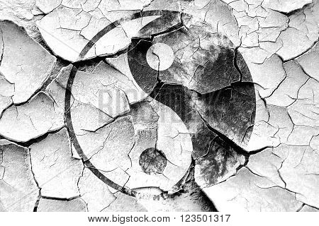 Grunge cracked Ying yang symbol with some soft smooth lines