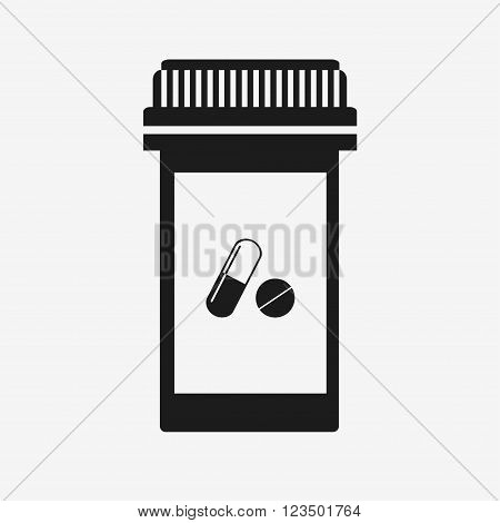 Pill bottle icon. Modern pill bottle for pills or capsules. Isolated icon on grey background. Flat style vector illustration.