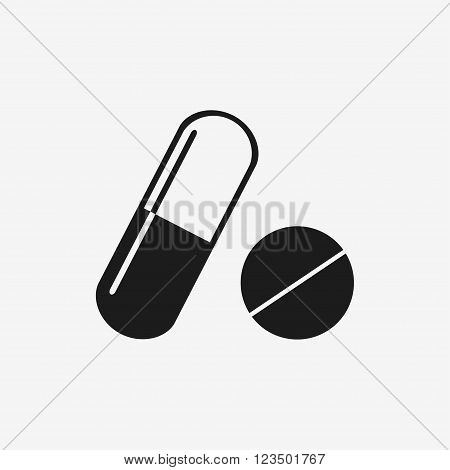 Pill icon. Pills isolated icons on white background. Pill and capsule. Modern medicine. Flat style vector illustration.