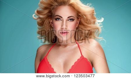 Summer Style Photo Of Young Blonde Girl In Bikini.