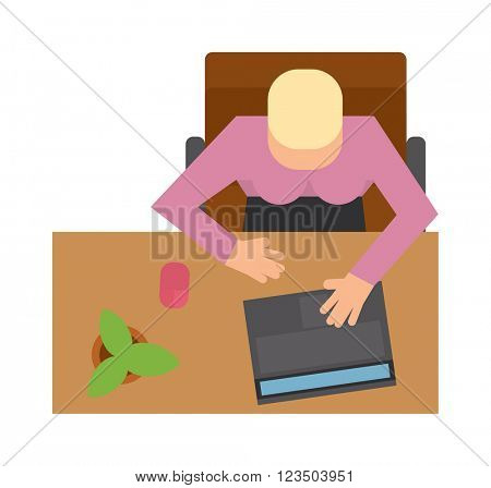 Workplace office process concept and web style modern digital office workplace. Workplace office with man top view flat vector illustration. Office people, office table